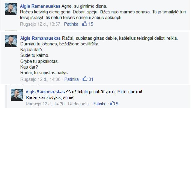 Žymus visuomenės veikėjas ir žymus humoristas Algis Ramanauskas siunčia linkėjimus